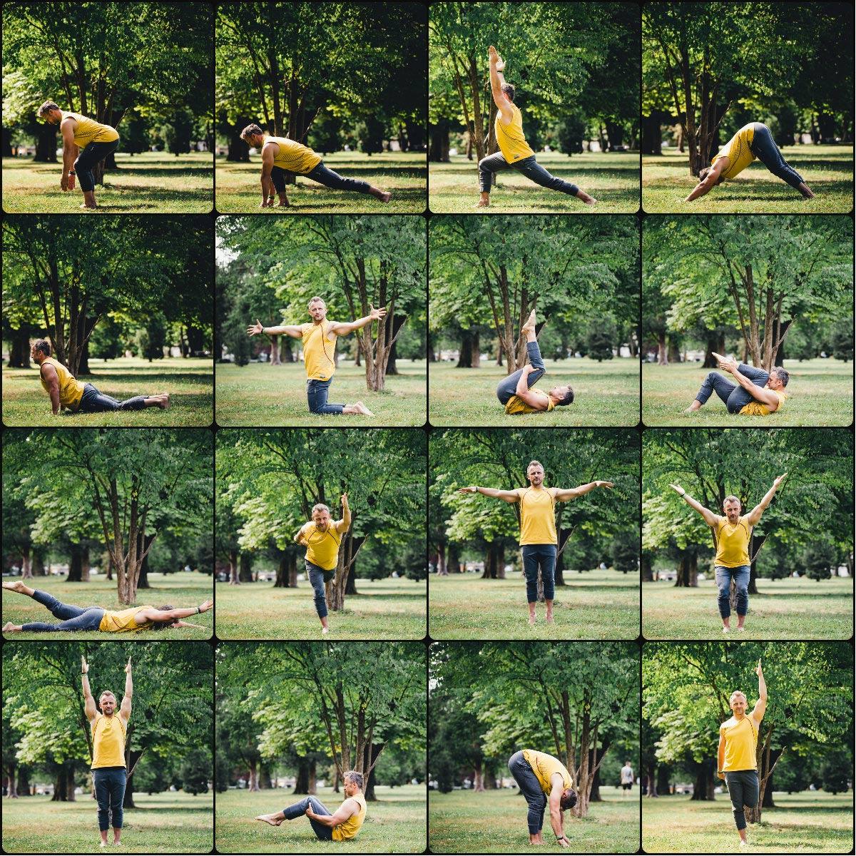 Različne vaje Fusion Balance v parku